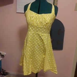 Yellow polka dot pinup dress